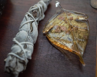 SALE* Blown Glass Leaf Pendent