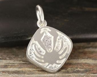 Cancer zodiac pendant in sterling silver - double sided, cancer necklace, zodiac necklace, zodiac jewelry