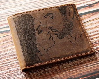Personalized Photo engraved wallet, Handwriting gift, Photo engraved mens wallet, Picture engraved wallet, mens wallet,