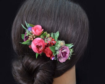 Pink Purple flower comb Floral accessories Wedding comb Bridal headpiece Bridesmaid comb Boho comb Bridal flower comb Bridal hair accessory