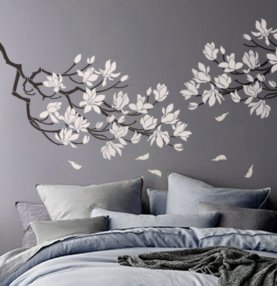 STENCIL Magnolia Flower Branch Large Branch Stencil for