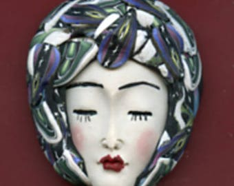 Polymer Clay OOAK   Detailed Asian  Art Doll Face with Faux Fabric Clay  hat Cab  ASN 16