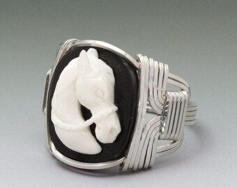 Carved Bone (bovine) Horse Cameo Sterling Silver Wire Wrapped Ring - Made to Order and Ships Fast!