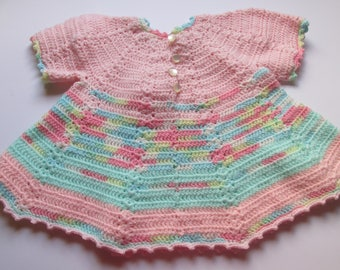 Handmade Vintage Crocheted Dress Baby Dress Pastels