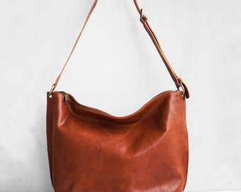 Meili Leather Crossbody Bag in Cognac/ Crossbody Bag /Leather Crossbody Bag /Leather Messenger Bag /Leather Slouch Bag /Slouch Bag/ Hobo Bag