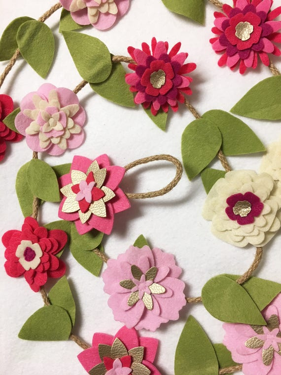 Flower Garland, Cherries Jubilee, Felt Flower Garland, Posable Twine, Valentines Decor, Wedding and Party Decoration