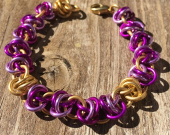Purple and Gold Chain Mail Bracelet, Whimsical, Adults and Teens, Anodized Aluminum, Barrels