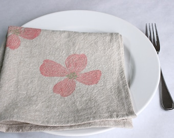 Cloth Napkins, Dogwood Hand Print on Natural Linen and Cotton Blend, Set of 6 Sixteen inch Dinner Napkins