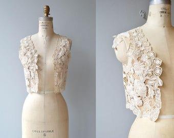 Sofiya folk lace applique vest | cropped lace 20s vest | antique 1920s folk clothing