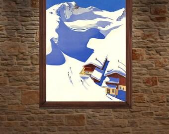 Austrian Alps , Vintage Travel Poster
