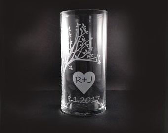 Mariage personnalisé l'unité cérémonie bougie Vase - rustique floraison Sweetheart Tree avec flottante bougie - personnalisé unité bougie Set