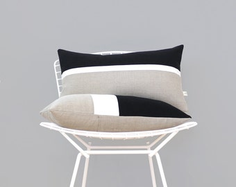 AS SEEN in Glamour Magazine: Horizon Line Pillow Cover with Black, Cream & Natural Linen Stripes by JillianReneDecor, Modern Home Decor