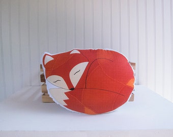 Fox Pillow Plush Sleeping Fox Woodland Nursery Decor Ready to Ship