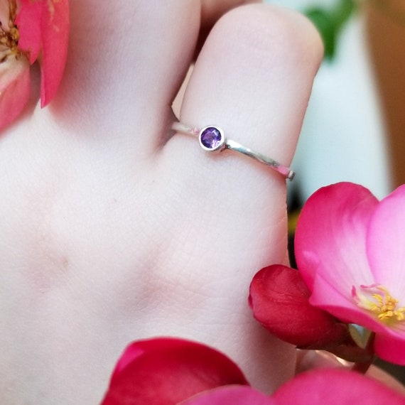 Thin Tiny Amethyst Ring, Ultraviolet, February Birthstone Jewelry, Chakra, Protection, Celestial Purple Ring, Stardust, Sleep, Solitaire
