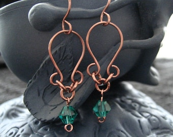 Antique Copper and Dark Turquoise Crystal  Bead Earrings