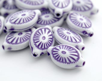 Oval Purple White Carved Acrylic Beads 19mm (16)