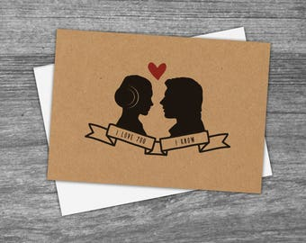 Star Wars inspired 'I love you', 'I know' greetings card