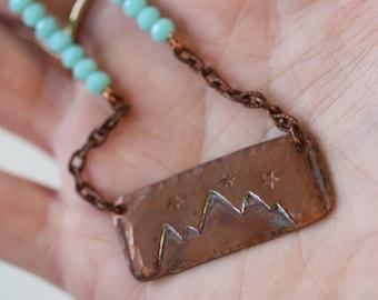 Mountains Stars Sky Hidden Message Choose Joy Inspirational Quote Necklace Motivational Adventurer Explore Travel Wander Copper Stamped Gift