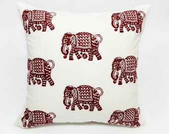 Elephant Walk in Cinnabar Decorative Pillow