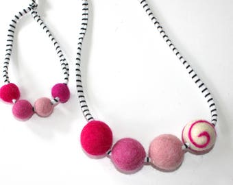 Pink Doll and Me Felted wool Ball Necklace