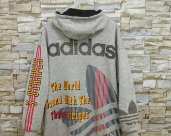 Vintage Adidas Jacket Hooded Coat Adidas 3 Stripes Big Logo Pullover Rare Adidas Run Dmc Style Parka Hip hop Rap Swag Sportswear Medium