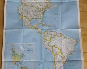 Vintage Map - The Americas and Bird Migration in the Americas - Original National Geographic Map 1979