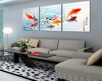 canvas paintings 3 Piece Koi Fish Wall Art chinese paintings koi fish painting