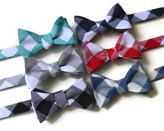 Bow Tie~Gingham Bow Tie~Mens Self Tie Bow Tie~Cotton Tie~Bow Tie~Preppy Gift~Groom~Groomsmen~Jade~Gray~Black~Navy~Red~Denim~Wedding Tie