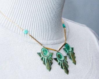 Egyptian Art Deco Necklace Teal Green Unique Patina Necklace Verdigris Geometric Necklace Art Deco Jewelry Statement Necklace - N336