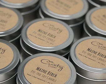 Maine Birch Soy Candle | Dye-Free Soy Candle Tin | Hand Poured Soy Candles | Wedding Favors