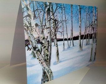 Card, Birch Trees