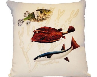 Three Fishes in Linen Decorative Pillow with Feather Down Fill