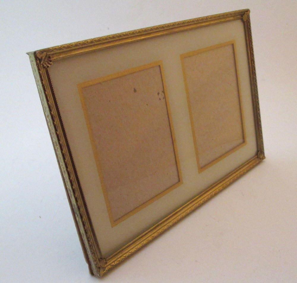 6x9 frame, Vintage Metal Photo Frame, reverse painted glass, Art ...