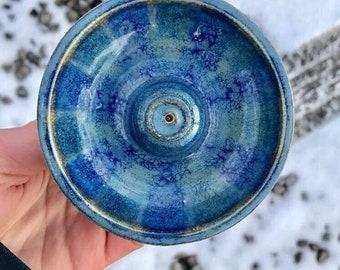 Blue striped incense holder