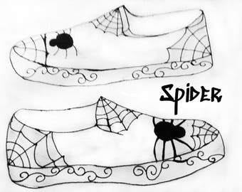 Gothic spider hand painted canvas shoes