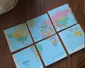 World map stone coasters- set of six