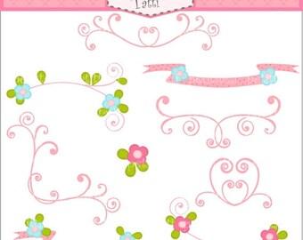 ON SALE Fairy swirl pink flowers  border Digital clip art, Instant download clip art