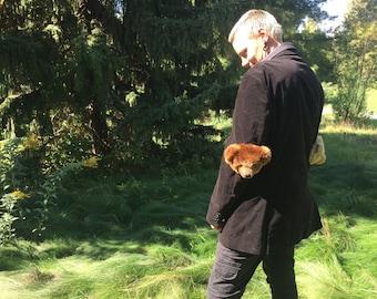 Super soft black velvet coat with brown/beige bear elbow pads!