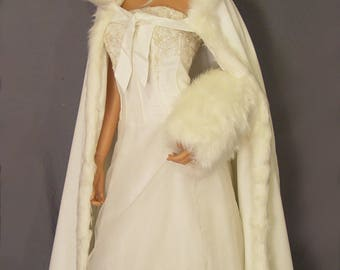 Fur trim satin cloak bridal coat shawl wrap renaissance wedding full length medieval cape cover up CLK201 AVL in ivory and 3 other colors
