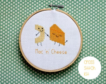 "Mac 'N' Cheese cross stitch kit: -  ""cute mac 'n' cheese"" - embroidery kit, cross stitch kit beginner, food cross stitch kit"