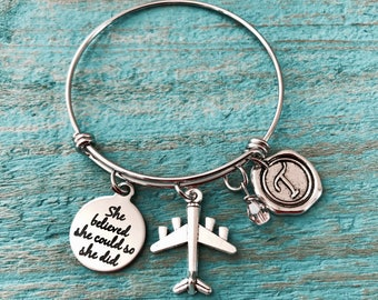 She Believed she could so she did, Silver Bracelet, Charm Bracelet, Flight Attendant, Aviator, Pilot, Aeroplane, Plane, Airplane Bangle,