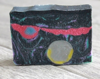 Planetary Soap Bar - Planet Soap - Galaxy Soap - Outer Space Soap - Space Soap - Handmade Soap - Bar Soap - Activated Charcoal Soap