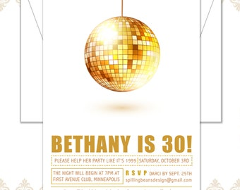 Disco Ball Invite, Gold Disco Ball Birthday Invite, 30th Birthday Invite, Disco Party Invite, Modern Disco Invitation, Gold Disco Ball
