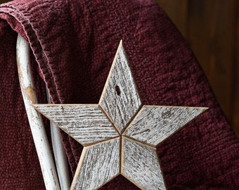 White Wooden Star Wall Decoration Hanging - White Star made from Reclaimed Wood with chipped white paint