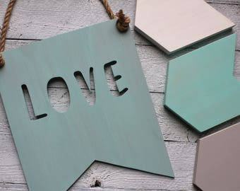 Rustic Love Sign - Newborn Nursery Decor - Shabby Chic Nursery - Rustic Nursery Wall Decor - Wooden Wall Signs for Babies - Wooden Pennant