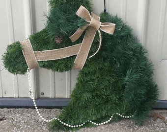 Artifical Horse Head Wreath- you pick the color ribbon