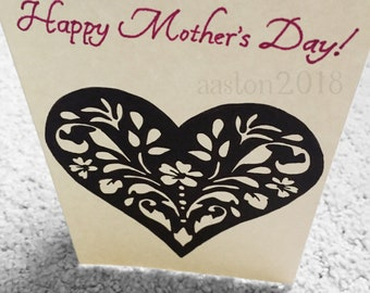 Mother's Day Card - Heart Flower Design - Hand Drawn