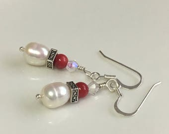 White pearl earrings freshwater pearl dangle Sterling silver Christmas gift