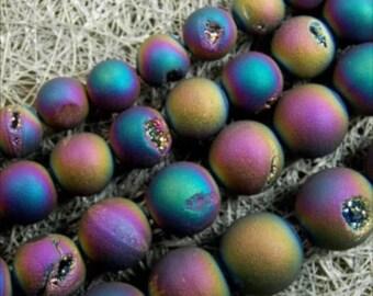 [5] Druzy 10mm round beads