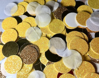 Yellow and Gold Confetti, Yellow Confetti, Quinceanera party, Table scatter, Princess theme Birthday party decor